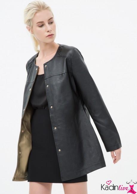 Yeni Sezon Koton Kadın Siyah Uzun Deri Mont Modelleri