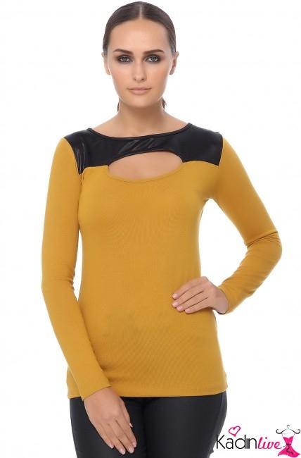 Tozlu Kadın Önü Dekolteli Hardal Sarısı Bluz Modelleri
