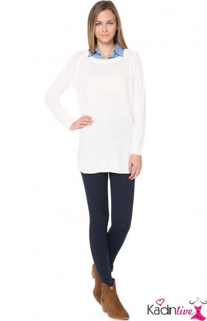 Tozlu Gömlek Yakalı Krem Triko Bluz Modeli