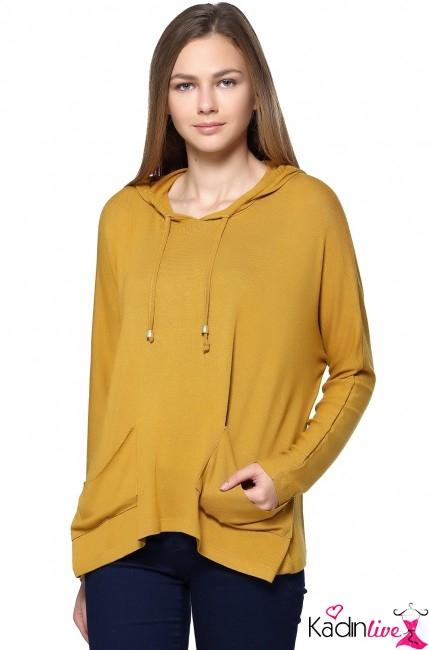 Tozlu Kapşonlu Hardal Sarısı Rengi Bluz Modelleri