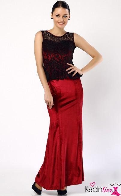 Üst Kısmı Dantelli Kadife Abiye Elbise Modeli