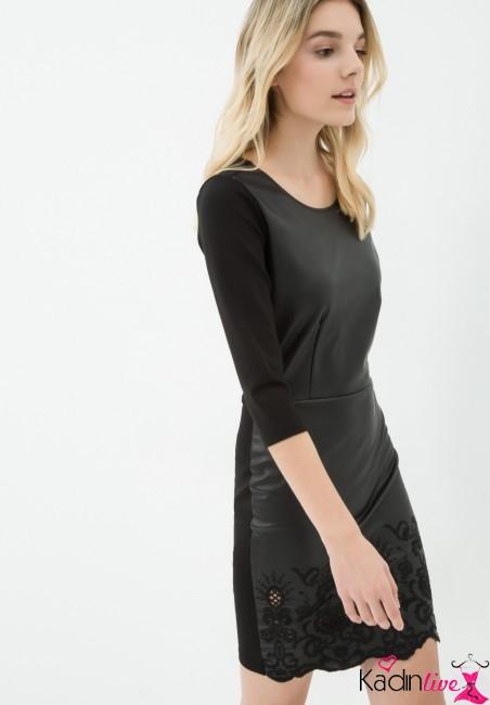d1caadaacd155 Koton Kolları Detaylı Siyah Elbise Modelleri - Kadinlive.com