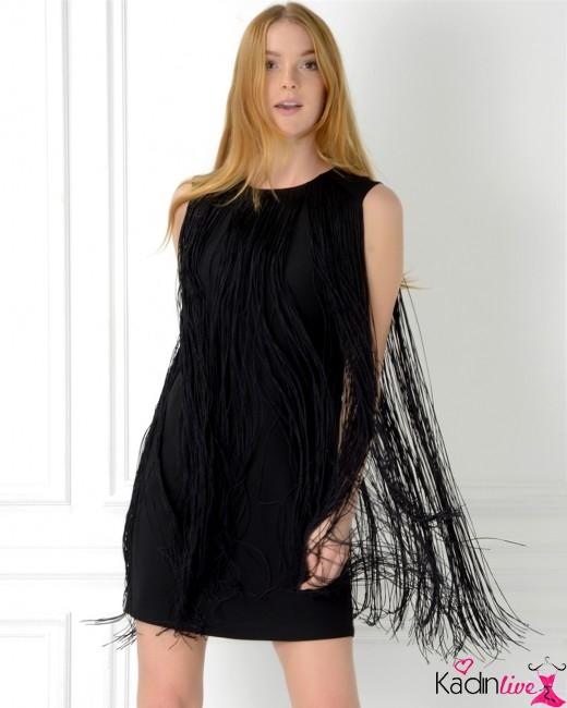 Adil Işık Siyah Püsküllü Gece Elbisesi