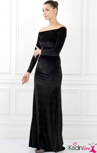 Adil Işık Siyah Havuz Yaka Abiye Gece Elbisesi Modelleri