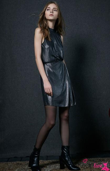 Bershka Dökümlü Işıltılı Bel Dekolteli Elbise Modelleri