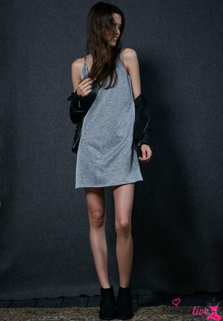 Yeni Sezon Bershka Gümüş Simli Elbise Modelleri