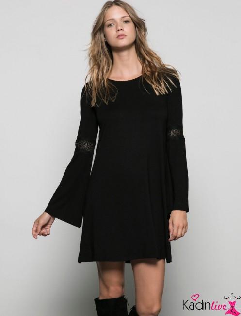 Bershka Kolları Dantel İşlemeli Şık Elbise Modelleri