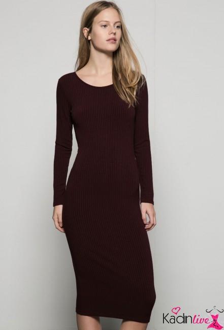 Bershka Uzun Kollu Nervürlü Elbise Modelleri