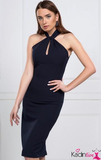 Boyundan Bağlı Koyu Lacivert Kalem Elbise Modelleri