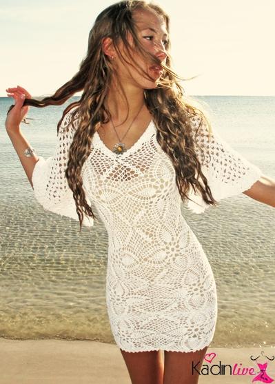 Dantelli Yazlık Örgü Elbise Modelleri