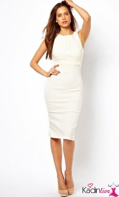4fdc7a047bafa Yeni Sezon Diz Altı Beyaz Kalem Elbise Modelleri - Kadinlive.com