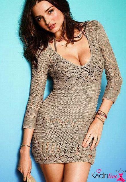 Yazlık Gri Örgü Elbise Modelleri