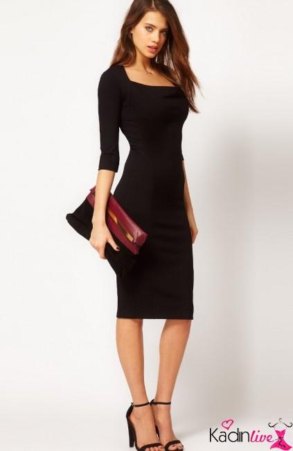 Yeni Sezon Siyah Yarım Kollu Kalem Elbise Modelleri