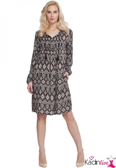 LC Waikiki Desenli Diz Üstü Uzun Kollu Elbise Modelleri