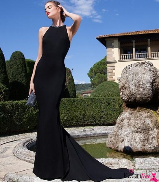 Tarık Ediz Şık Sıfır Kollu ve Yakalı Abiye Elbise Modeli