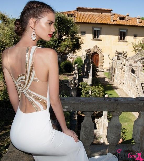 Tarık Ediz Sırt Dekolteli İşleme Abiye Elbise Modelleri