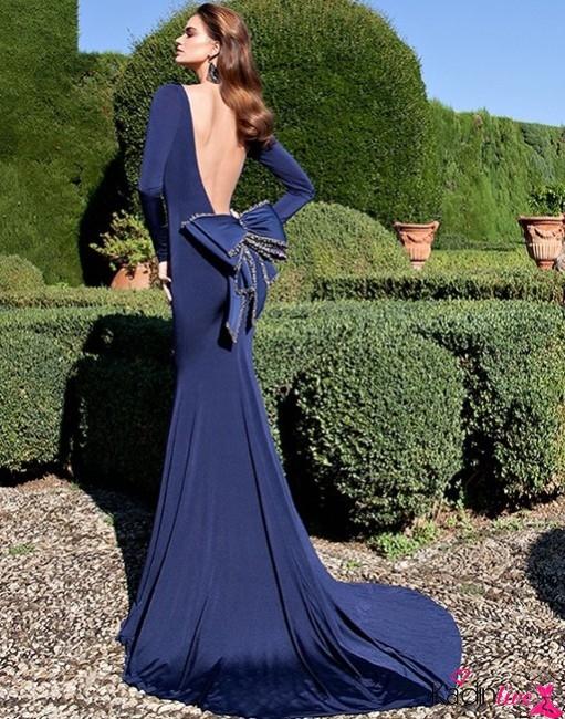 Tarık Ediz Sırt Dekolteli Kurdele Detaylı Abiye Elbise Modelleri