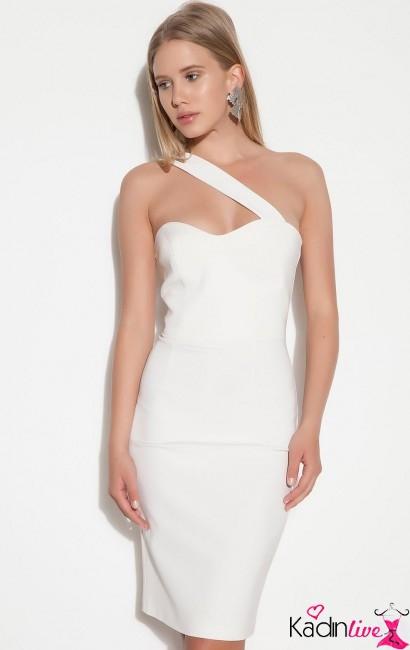 Yaz Modası Beyaz Tek Bantlı Kalem Elbise Modelleri