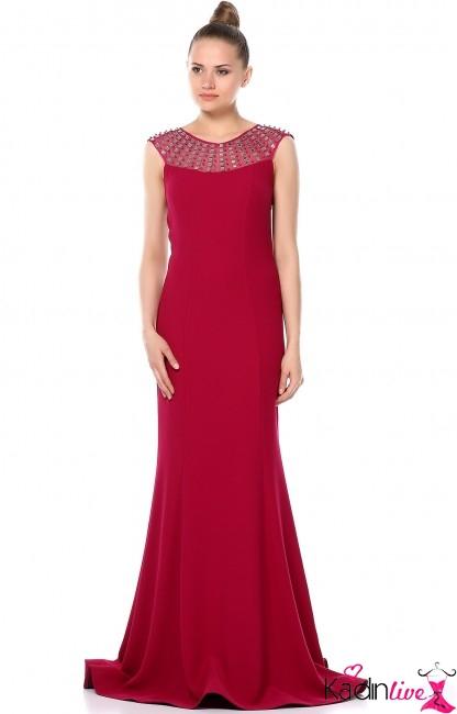 Tozlu Yakası Taşlı Abiye Elbise Modelleri 2016