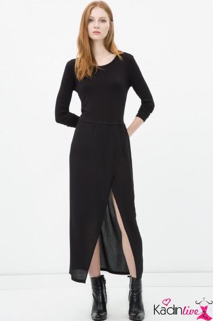 Koton Siyah Uzun Kollu Yırtmaçlı Elbise Modelleri