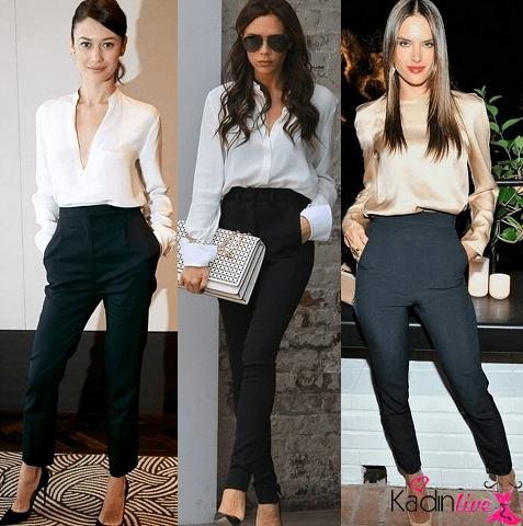 Yüksek Bel Pantolon V yaka Gömlek Kombinleri 2016
