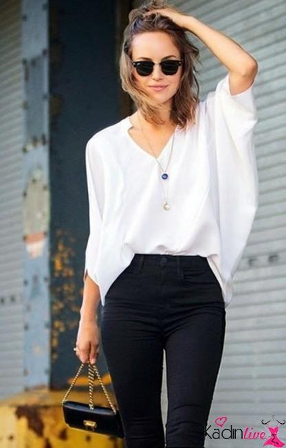 Yarasa Kollu Bluz ve Yüksek Bel Pantolon Kombini 2016