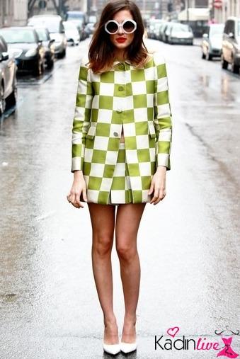 Yeşil Beyaz Dama Desenli Trend Elbise Kombini 2016
