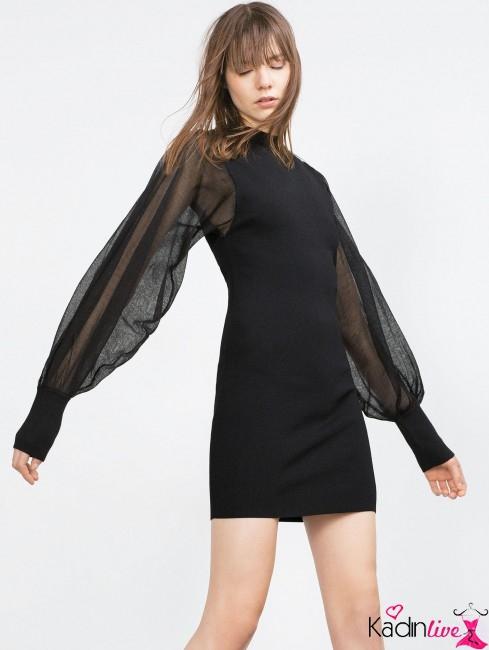 Yeni Sezon Zara Krepe Kollu Elbise Modelleri
