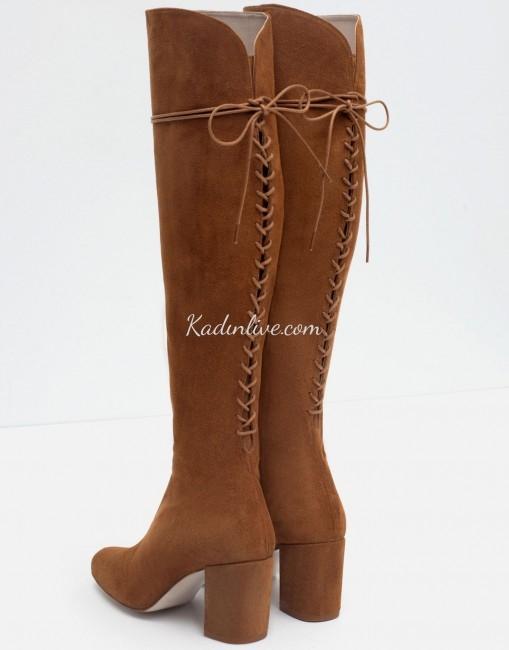 Zara Arkadan Bağcıklı Deri Uzun Çizme Modelleri