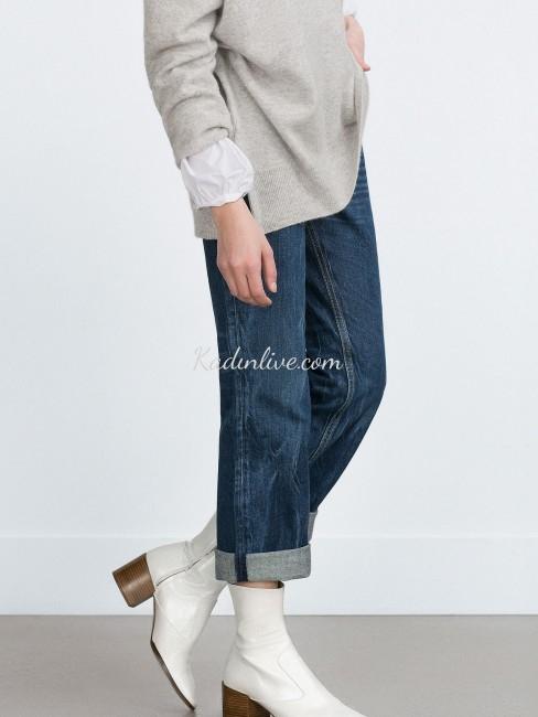 Zara Beyaz Yarım Çizme Modelleri