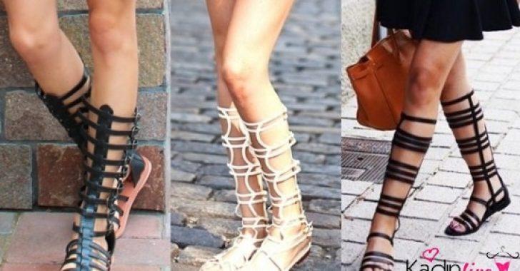 Gladyatör Sandalet Sokak Modası Kombinleri 2018-2019
