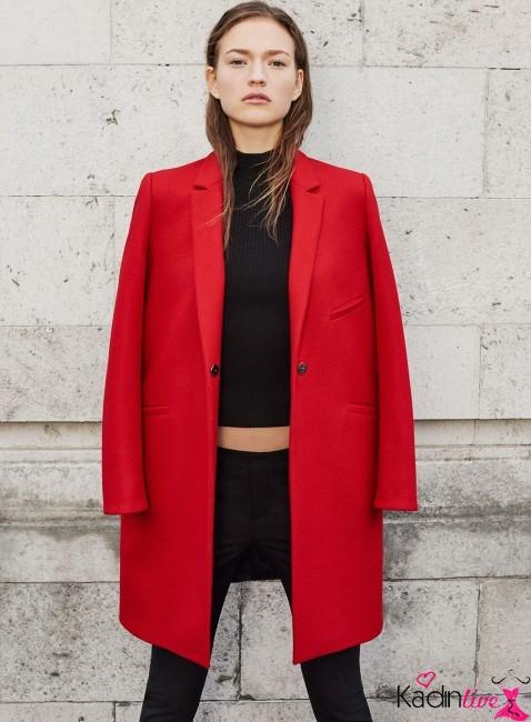 Sonbahar Kış Zara Kırmızı Düz Kesim Yanlardan Cepli Ceket Modelleri