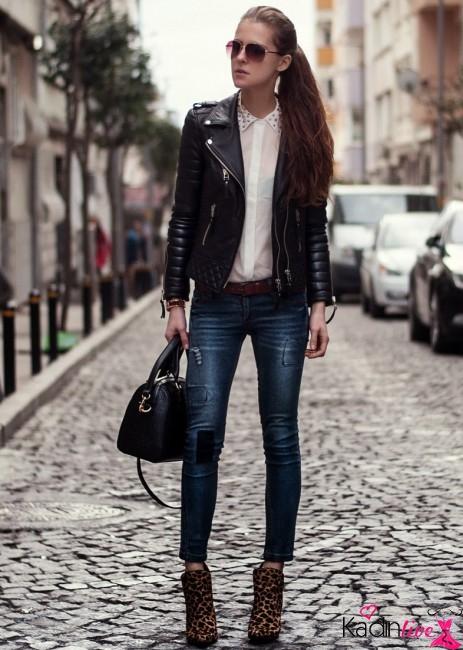 Kısa Skinny Jean Deri Ceket Kombini