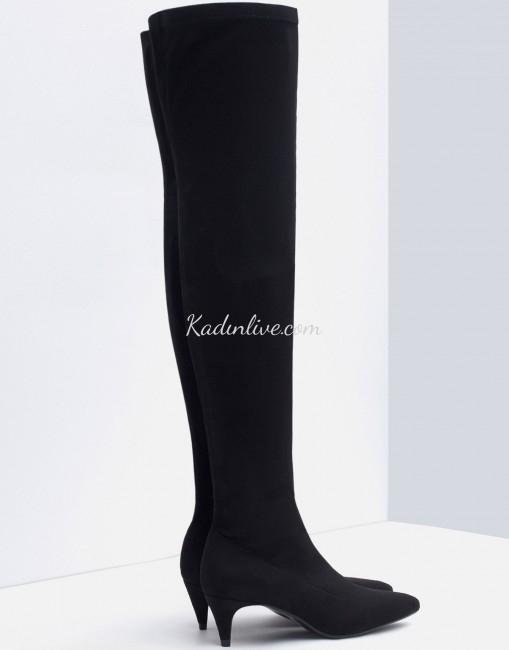 Zara Kitten Topuklu Dizüstü Siyah Çizme Modeli