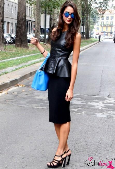 Peplum Deri Kıyafet Şık Sokak Kombini