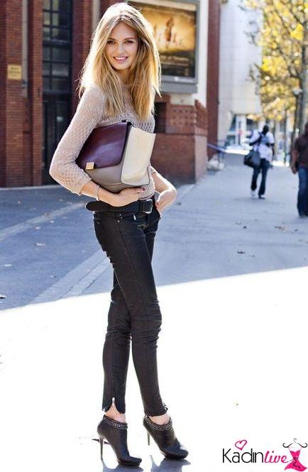 Siyah Skinny Jean İnce Topuk Bot Sokak Stili
