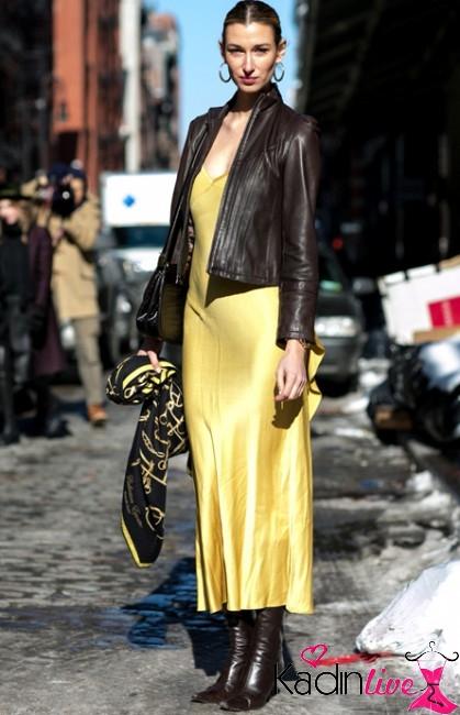 Uzun Elbise Deri Ceket Kombini