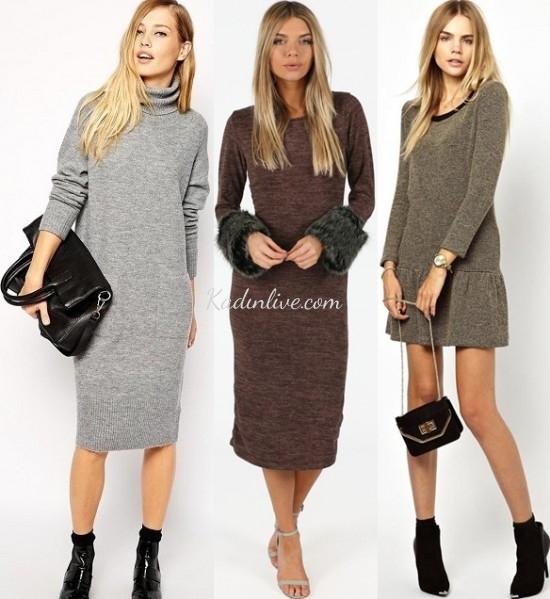 a20b053a77971 Örgü Elbise Sonbahar Kış Modası - Kadinlive.com
