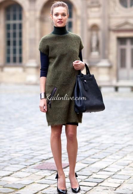 Şık Kışlık Örgü Kazak Elbise Sokak Kombini