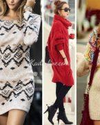 2018-2019 Sonbahar Kış Moda Trendleri: 15 Örgü Elbise Modelleri