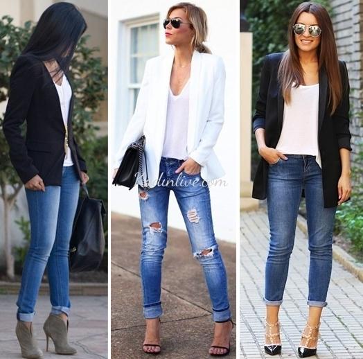 Blazer Ceket Jean ve Beyaz Tişört Kombinleri