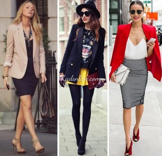 Blazer Ceket ve Etek Kombinleri Sokak Modası