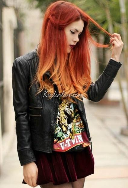 Kızıl Ombre Saç Rengi 2016 Modelleri