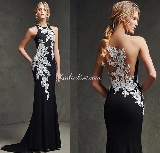 e00c35685deb5 Pronovias Dantel Aplikli Siyah Parti Abiye Elbise Modelleri ...