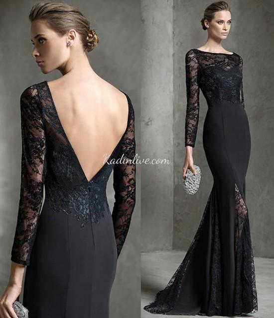 Pronovias Siyah Dantel İşlemeli Abiye Elbise Modelleri 2016 17