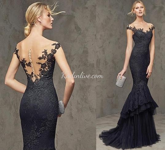 9dd844a9cb38a Pronovias Tül Detaylı Şık Abiye Elbise Modeli - Kadinlive.com