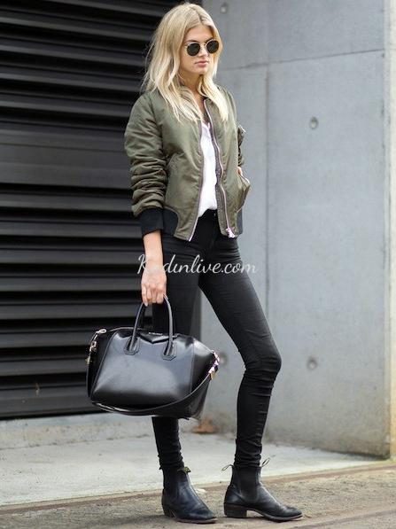 Skinny Jeans ve Bomber Ceket Kombini Sokak Modası