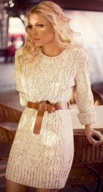 Sonbahar Kış Örgü Kazak Elbise Modeli Kemer Detaylı