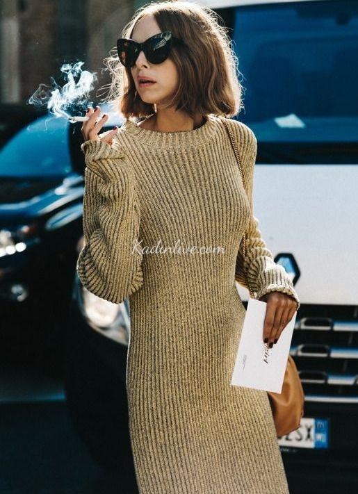 Vintage Örgü Elbise Sokak Stili