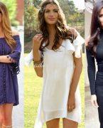 Omzu Açık Elbise Modelleri ve Kombinleri